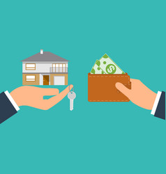 Buying house agent of real estate holding in hand vector