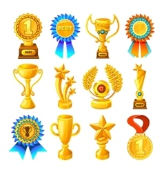 Cartoon Gold Reward Icon Set vector image