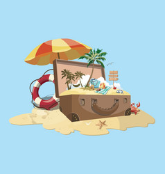 cartoon island with a chest vector image
