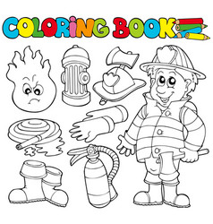 coloring book firefighter collection vector image