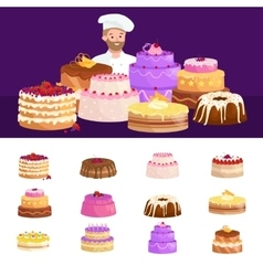 Confectioner cook chef cartoon character with cake vector image