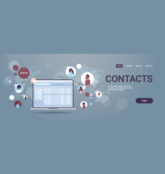 Contact list of mix race people social network vector