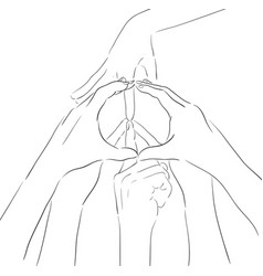 Contour of human hands and sign of peace gesture vector
