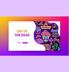 day dead neon landing page vector image