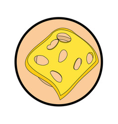 Delicious piece of cheese vector