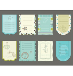 Design elements for baby scrapbook - cute tags wit vector