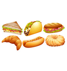 different types of fastfood vector image