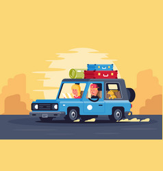 family road trip with dog on classic car and vector image