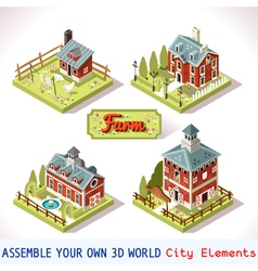Farm Tiles 02 Set Isometric vector image