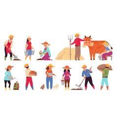 farmer characters gardening working women vector image