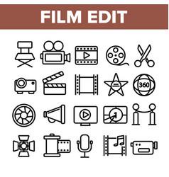 Film edit filmmaking linear icons set vector