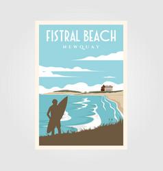 fistral beach surf vintage poster design surf vector image