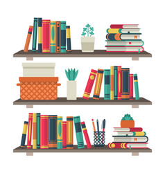 Flat bookshelves shelf book in room library vector