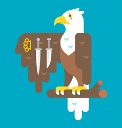 Flat design eagle with weapons vector
