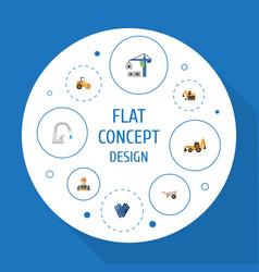 Flat icons handcart mitten faucet vector