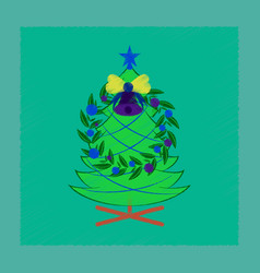 Flat shading style icon christmas fir wreath vector