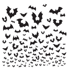 Flying halloween bat cave bats flock silhouette vector
