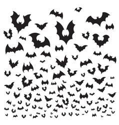 flying halloween bat cave bats flock silhouette vector image