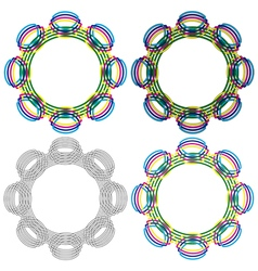 Four circular shapes same as a wicker pattern vector