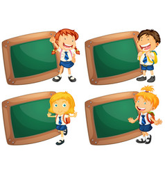 Four wooden frames with schoolkids vector