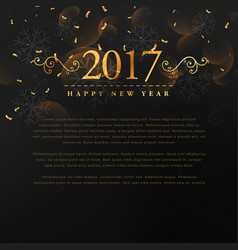golden 2017 new year text with floral and vector image