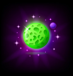 Green planet icon for game or mobile app on dark vector