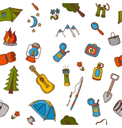Hand drawn camping and hiking seamless pattern in vector image