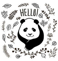 hand drawn cute panda vector image