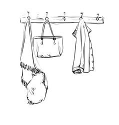 hand drawn wardrobe sketch with clothes interior vector image