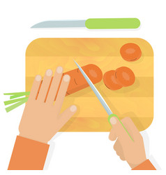 Hands cutting carrot vector