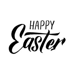 Happy easter modern brush calligraphy ink vector
