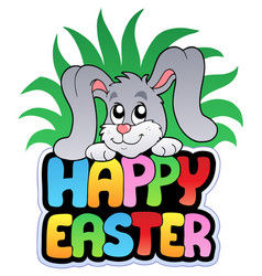 Happy easter sign with cute bunny vector