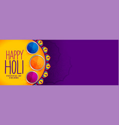 Happy holi festival colors banner design vector