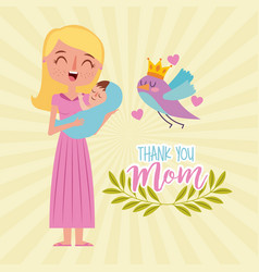 Happy woman carrying baby - thank you mom vector