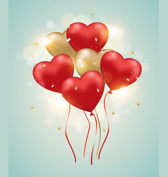 heart balloons on a green background vector image