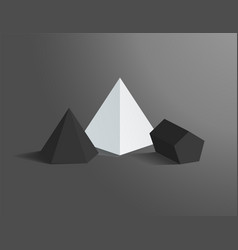 Hexagonal pyramid and pentagonal prism figures set vector