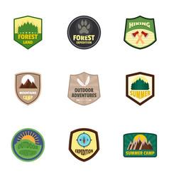 hiking logo emblem set flat style vector image