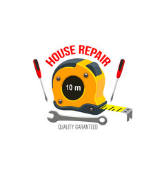 House repair icon with work tool and tape measure vector