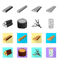 isolated object of tree and raw symbol set of vector image