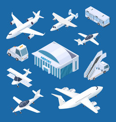 isometric airport building airplaines and vector image