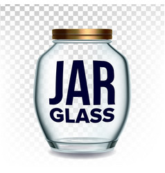 jar glass closed by golden cap for jam vector image