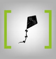 Kite sign black scribble icon in citron vector