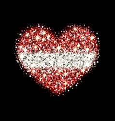 latvia flag sparkling heart badge vector image