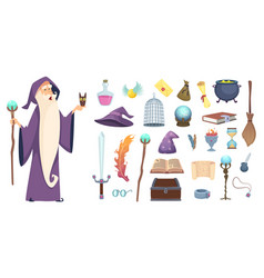 Magician tools wizard magic mystery broom potion vector