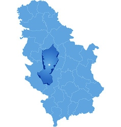 Map of Serbia Subdivision Moravica District vector