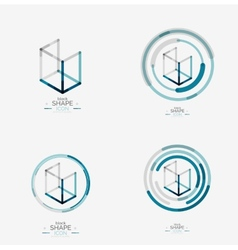 Minimal line design logo business icon block vector image
