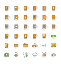 Mobile phone flat design icon set Mobile phone vector