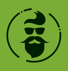 Monochrome hipster with beard glasses haircut vector