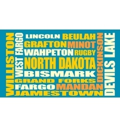 North Dakota state cities list vector