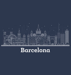 Outline barcelona spain city skyline with white vector